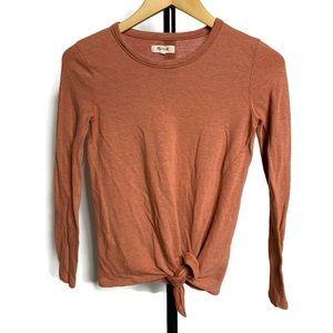 Madewell Burnt Orange Knot Tie Long Sleeve Shirt
